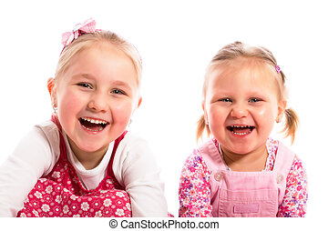 two laughing sisters