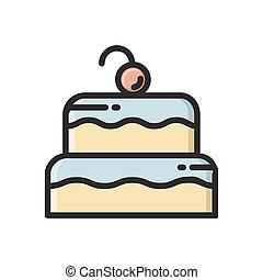 Two layered birthday cake icon with cherry on top