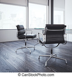 Two leather chairs in a modern office room. 3d rendering