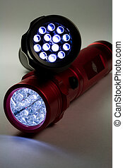 Two LED Flashlights - Turned On - Two white LED flashlights ...