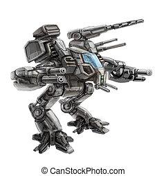 Two-legged walking combat robot. Science fiction illustration. Original sci-fi military vehicle concept.