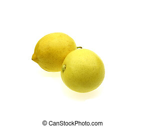 Two lemon isolated on white background. Tropical fruit.