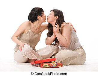 two lesbian girl with gift. on white