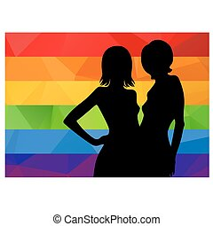 two lesbian girls - Two black woman silhouette with...