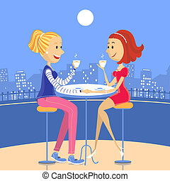 Two lesbian lovers in a cafe