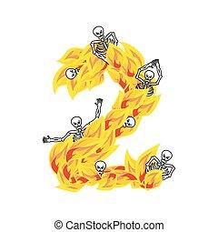 two., lettrage, abc, alphabet., diabolique, flammes, brûler, satanique, font., nombre, flamme, mort, hellish, ardent, 2, sinners, infernal, squelette