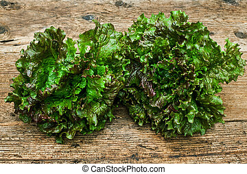 lettuces on a wooden table