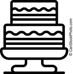 Two level cake on a stand icon, outline style