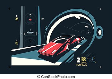 Two levels cars tunnel with map of traffic vector illustration. Red auto driving via modern subway flat style concept. Speed road transportation system in night time