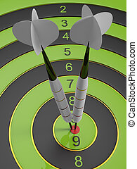 Two light gray darts hitting the bullseye aim. concept of success 3d illustration