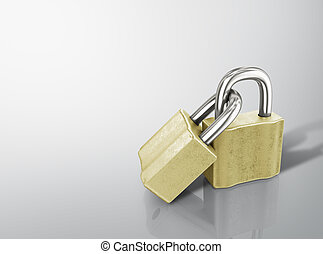 Two linked gold padlocks with reflections on a white background