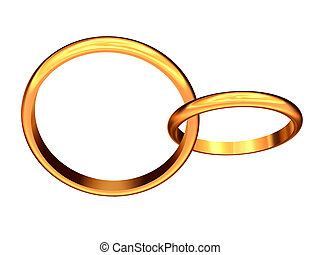 Linked wedding rings Golden wedding rings linked together stock