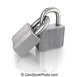 Two linked padlocks with reflections on a white background