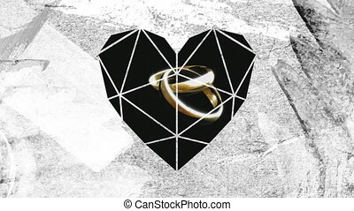 Two linked ring through white heart shaped foreground - ...