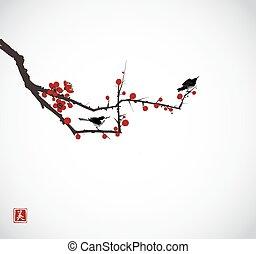 Two little birds on sakura branch. Traditional oriental ink painting sumi-e, u-sin, go-hua. Hieroglyph - beauty