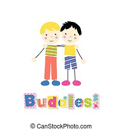 two little boys hugging - little blonde and black haired...