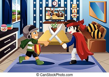 Two Little Boys Playing with Swords - A vector illustration...