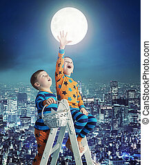 Two little brothers on the ladder to the sky