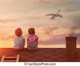 children playing on the roof