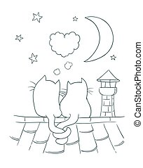 Two little cute cats on a roof with heart shaped bubble, moon, stars, chimney. Coloring page version vector cartoon illustration on romance theme