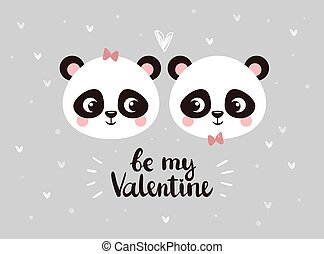 Two little faces of pandas are looking at each other among hearts on a gray background.