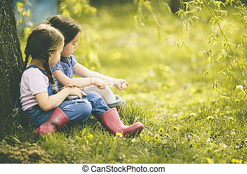 Two little girls at the farm