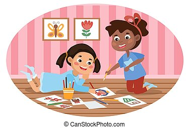 Two cute diverse multiracial little girls drawing indoors. Flat cartoon colorful vector illustration with fictional characters.