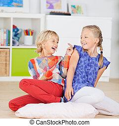 Two Little Girls having fun