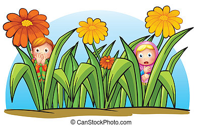 Two little girls hiding - Illustration of two little girls...