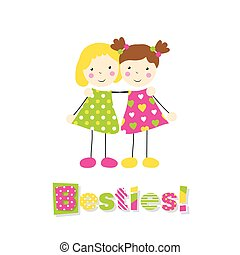 two little girls hugging - little blonde girl in a green...