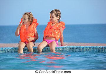 two little girls in lifejackets sitting on ledge pool on resort, Looking afar