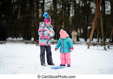 Two little girls on walk in winter day. It is snowing. The...