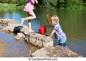 Two little girls outdoors at the lake