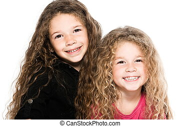 Two Little Girls Portrait Smiling