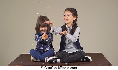 two little girls sisters playing with soap bubbles. a happy carefree childhood. the friendship of sisters