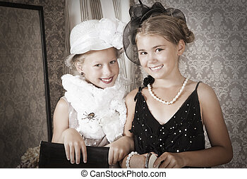 Two little girls. Vintage style