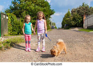 Two Little girls walking with small ??dog on a leash outdoor
