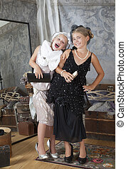 Two little Old-fashion girls have fun