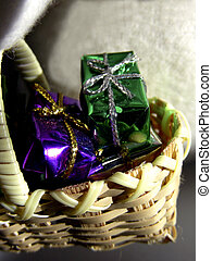 Two Little Presents - Tiny little wicker basket of gifts