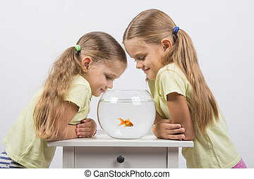 Two little sister gave an aquarium with goldfish
