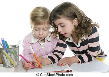 two little sister student doing homework