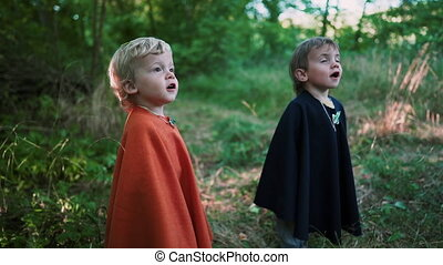Two little toddler boys cosplay gnomes or hobbits in long capes smiling sincerely magically falling foliage in green forest. Halloween, kids concept. Amazing fairy tale character. Slow motion. .