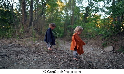 Two little toddler boys cosplay gnomes or hobbits in long capes walking barefoot in green forest. Halloween, kids concept. Amazing fairy tale character. Slow motion. . High quality FullHD footage