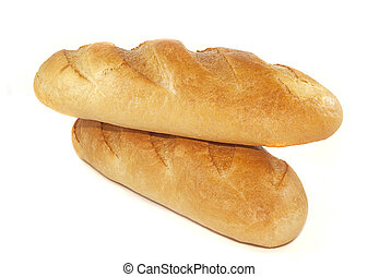 Two loaves of bread on a white background