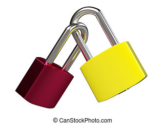 Two locked padlocks isolated on white background. 3D rendering