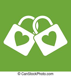 Two locked padlocks with hearts icon green