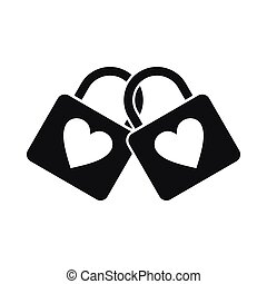 Two locked padlocks with hearts icon, simple style