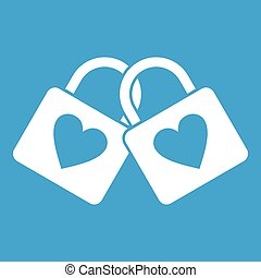 Two locked padlocks with hearts icon white