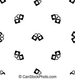 Two locked padlocks with hearts pattern seamless black