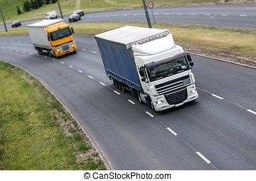 Two lorries on the highway
